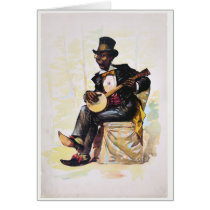African American banjo player Vintage Lithograph Card