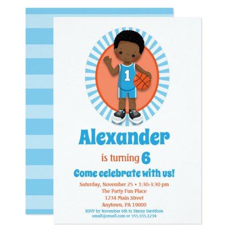 African American Basketball Boys Birthday Invitation