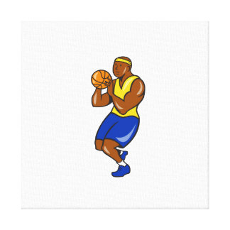 African-American Basketball Player Shoot Ball Cart Gallery Wrapped Canvas