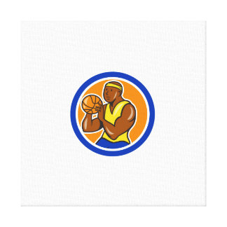 African-American Basketball Player Shooting Cartoo Canvas Print