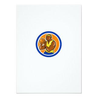 African-American Basketball Player Shooting Cartoo 14 Cm X 19 Cm Invitation Card