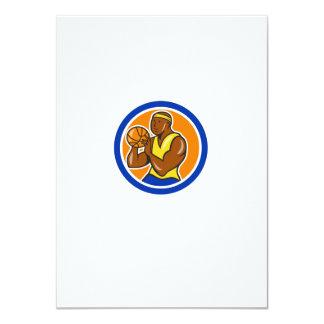 African-American Basketball Player Shooting Cartoo 11 Cm X 16 Cm Invitation Card