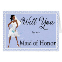 African American Be My Maid of Honor Invitation