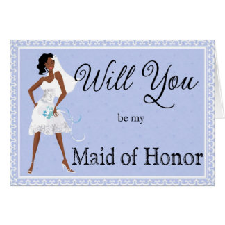 African American Be My Maid of Honor Invitation Card