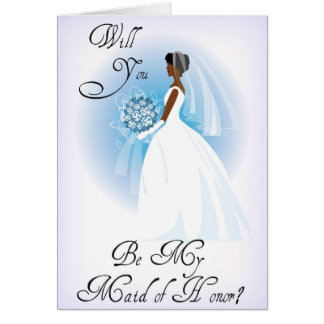 African American Be My Maid of Honor Invitation Cards