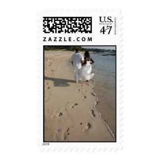African American Beach Wedding Postage Stamp