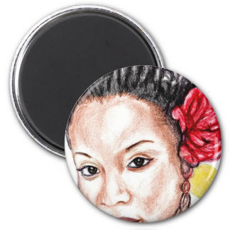African American Beauty 2 Inch Round Magnet