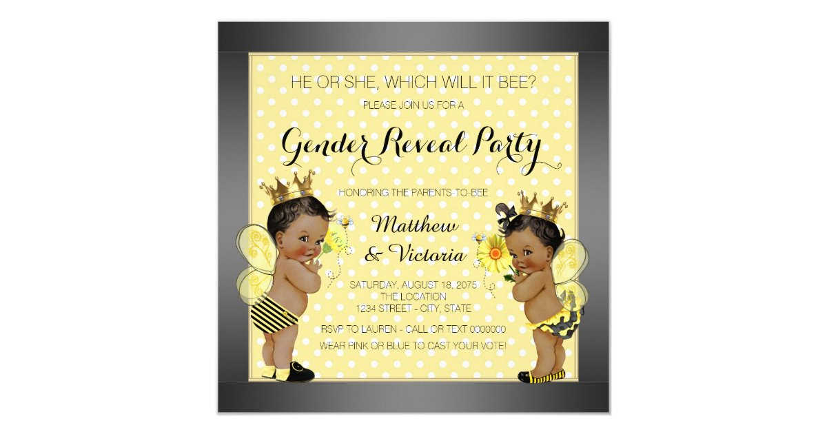 African American Bee Gender Reveal Card Zazzle