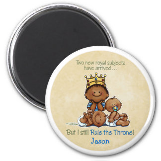 African American Big Brother - King of Twins 2 Inch Round Magnet