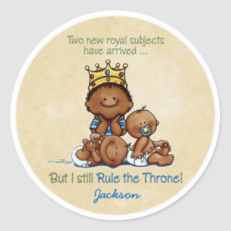 African American Big Brother - King of Twins Classic Round Sticker