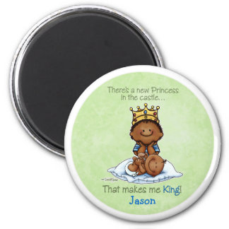 African American Big Brother - Princess 2 Inch Round Magnet