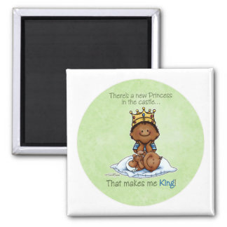 African American Big Brother - Princess 2 Inch Square Magnet