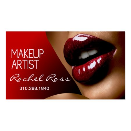 African American Beautiful Luscious Glossy Red Lips Cosmetologist Business Cards