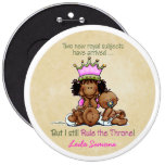 African American Big Sis of Twins 6 Inch Round Button