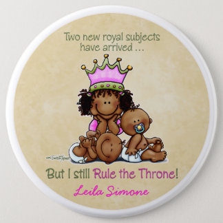 African American Big Sis of Twins Pinback Button