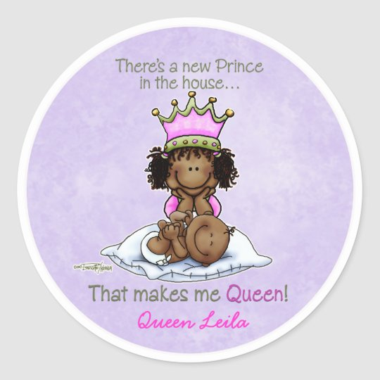 African American Big Sister of Prince Classic Round Sticker