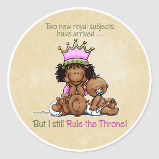 African American Big Sister - Twins Queen Classic Round Sticker