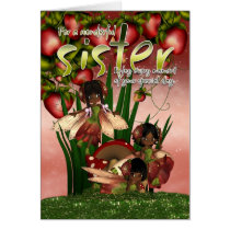 African American Birthday Card - Sister - Moonies