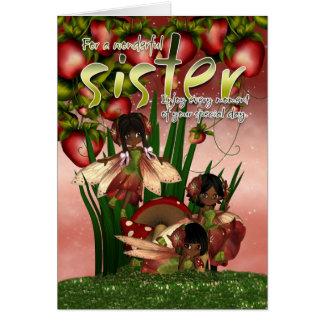 African American Birthday Card - Sister - Moonies