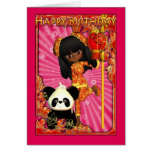 African American Birthday Card With Moonies Little