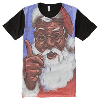 African American Black Santa Claus Christmas All-Over Print T-shirt