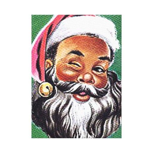 African American Black Santa Claus Christmas Canvas Print ...