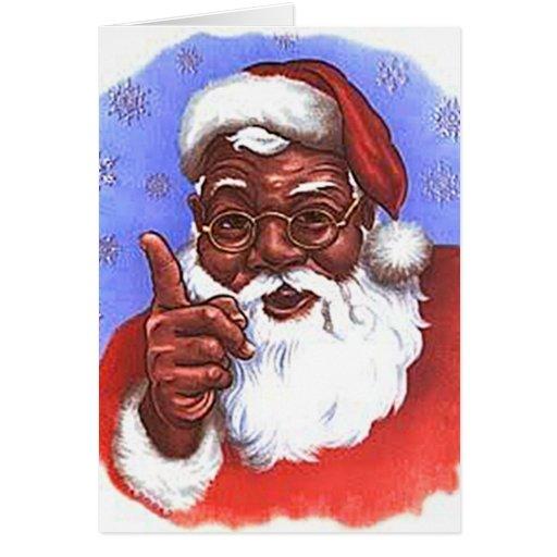 African american black santa claus christmas card zazzle