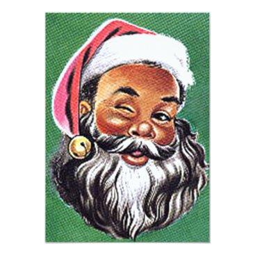 Christmas Themed African American Black Santa Claus Christmas Card