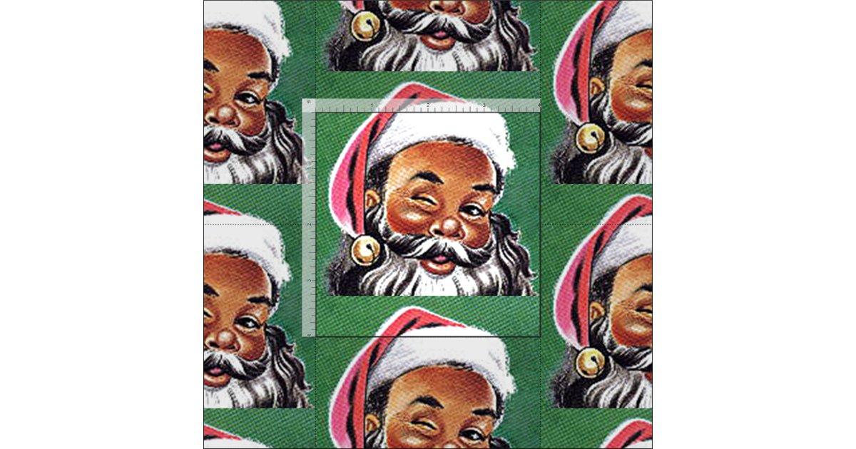 African American Black Santa Claus Christmas Fabric