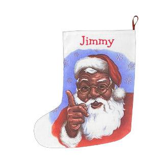 African American Black Santa Claus Christmas Large Christmas Stocking