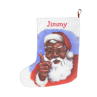 African American Black Santa Claus Christmas Large Christmas Stocking