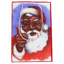 African American Black Santa Claus Christmas Medium Gift Bag