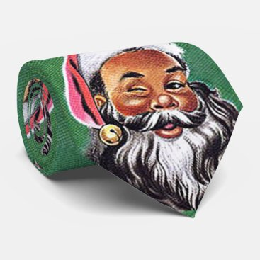 Christmas Themed African American Black Santa Claus Christmas Neck Tie