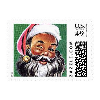 African American Black Santa Claus Christmas Postage