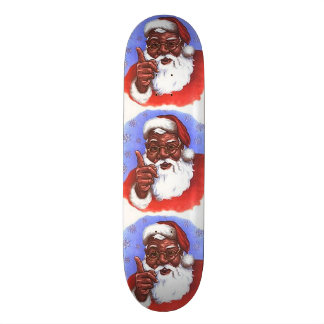 African American Black Santa Claus Christmas Skateboard