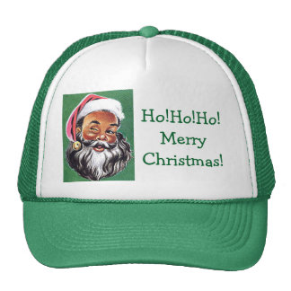 African American Black Santa Claus Christmas Trucker Hat