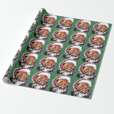 Christmas Themed African American Black Santa Claus Christmas Wrapping Paper