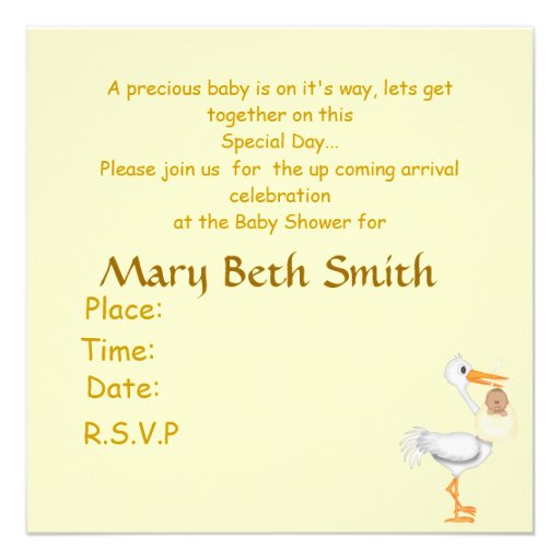 AFRICAN AMERICAN BLING BABY SHOWER  INVITATION YEL (back side)