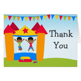 African American Bounce House Party Thank You Greeting Cards