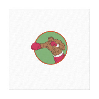 African-American Boxer Right Hook Circle Drawing Canvas Print