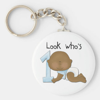African American Boy 1st Birthday Tshirts and Gift Basic Round Button Keychain