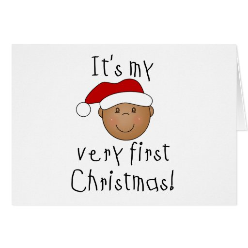 African American Boy 1st Christmas Greeting Card