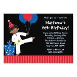 African American Boy Balloons Taekwondo Birthday Announcement