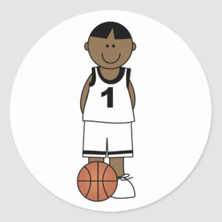 African American Boy Basketball Round Stickers