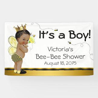 African American Boy Bee Baby Shower Banner