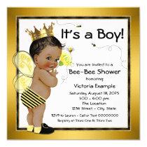 African American Boy Bee Baby Shower Invitation