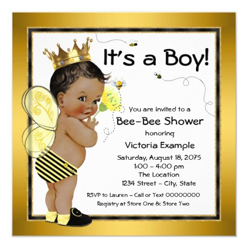 African American Boy Bee Baby Shower Invitation