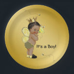 "African American Boy Bee Baby Shower Paper Plate<br><div class=""desc"">Bee baby shower paper plates with adorable African American baby boy wearing a cute bumble bee outfit on a rich gold background with flying bumble bees. You can add text to personalize these black and gold bee baby shower paper plates, and you can remove the gold background to add the...</div>"