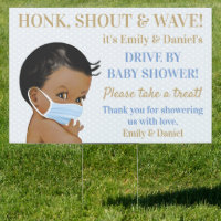 African American Boy Drive By Baby Shower Sign