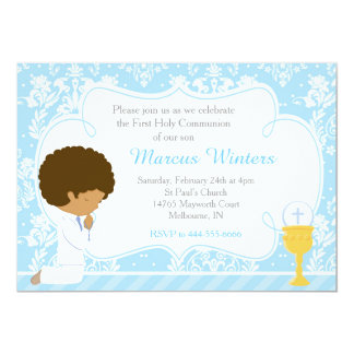 African American Boy First Communion Damask Card